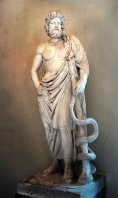 Asclepius, shown with his staff and entwined serpent